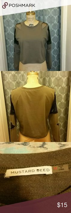 Olive Crop Sweater Top Cut distressed mesh block.  Size MEDIUM  Gently used. Olive Green Mustard Seed Tops