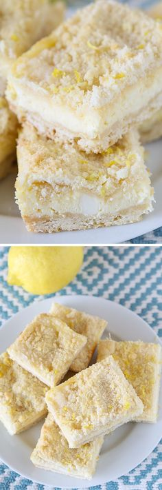 Lemon Shortbread Crumble Bars: The ULTIMATE Lemon Lovers Dessert! These bars are the perfect balance of buttery, sweet, tangy, creamy, crunchy, and EASY. You HAVE to make them!  #sweet #treat #recipe #dessert #recipes
