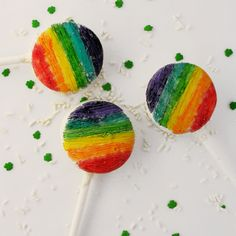 Rainbow Oreo Pops   You'll feel like you've struck gold when you bite into one of these fun rainbow Oreos.
