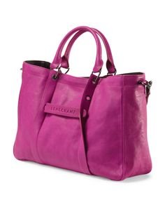 LONGCHAMP Leather Tote in fuchsia, $795