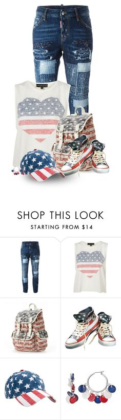 """4th of July ~ Outfit Only II"" by cathy1965 ❤ liked on Polyvore featuring Dsquared2, Candie's, Converse and Rowdy Gentleman"