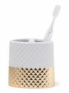 Gold Ceramic Toothbrush Holder TJ 7.99. Check out more at StyleBlazer.com