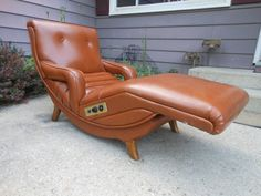 Vintage Danish Modern Contour Lounge Recliner Chair Mid Century Massager Vibrator Burnt Orange