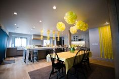 """Bump Smitten: Real Baby Shower: Yellow & Gray Elephants {Part2} ~ love the """"wishes"""" on tree branches AnD would change theme to blue...."""