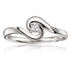 Black Hills Gold Engagement Diamond Embrace Promise Ring in White Gold - This diamond swirl promise ring is crafted in 10 karat white gold with a round brilliant-cut center diamond. Rose Gold Promise Ring, Promise Rings For Her, Delicate Rings, Unique Rings, Black Hills Gold Jewelry, Silver Jewelry, Diamond Jewelry, Antique Jewelry, Silver Ring