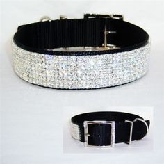 A gorgeous, soft and sturdy black nylon collar with lots of Swarovski Crystal bling! For big dogs.