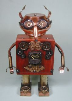 """STEAMBOT"" Found Object Steampunk Robot Sculpture Assemblage by Sally Colby"