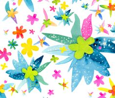 magical paper flowers fabric by angelastolons on Spoonflower - custom fabric