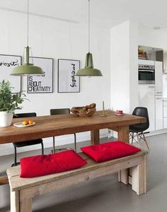 Dining room with long wooden dining table via vtwoven. Wooden Dining Tables, Table And Chairs, Table Bench, Rustic Table, Farmhouse Table, Communal Table, Farm Tables, White Farmhouse, Dinning Table