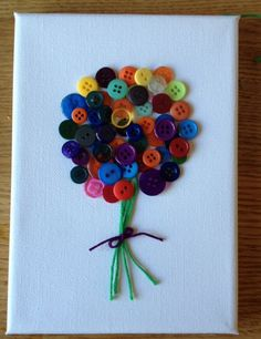 Button art flowers canvas handmade on Etsy, £10.00
