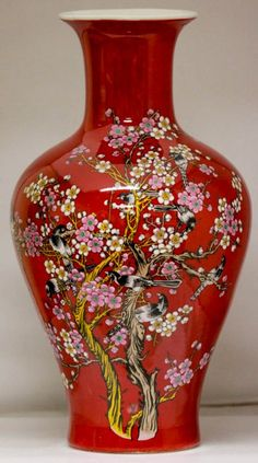 Beautiful red porcelain vase w/ detail flowers & birds : Lot 167974122Chinese Famille Rose Red Vase