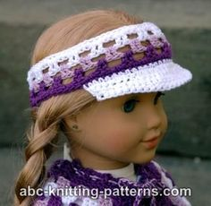 FREE crochet pattern for an American Girl Doll Visor by ABC Knitting Patterns.