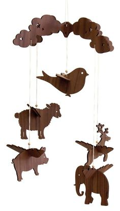 Great Wood Projects For Kids – WoodworkeRealm Laser Cnc, Laser Cutter Projects, Wood Projects For Kids, Mobiles, Arte Sketchbook, Hanging Mobile, Wooden Animals, Scroll Saw Patterns, Wooden Crafts