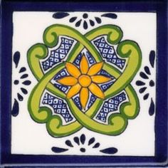 Talavera Tile Pubela DESIGN 1 DECO Mexican Ceramic Tile 4 1/4 x 4 1/4