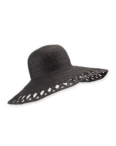 D0Y39 Eric Javits Maribel Cutout-Wide-Brim Hat, Black