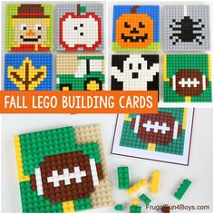 Fall LEGO Mosaic Ideas with Printable Building Cards - Frugal Fun For Boys and Girls Legos, Lego Mosaic, Lego Challenge, Lego Wall, Lego Club, Lego Activities, Lego Minecraft, Minecraft Crafts, Minecraft Skins
