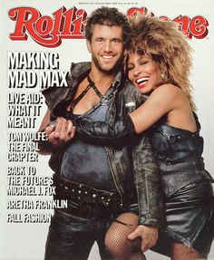 1985 Rolling Stone Magazine: Mel Gibson & Tina Turner - Making of Mad Max Tina Turner, Mad Max Mel Gibson, Bicicletas Raleigh, Rolling Stone Magazine Cover, Rainha Do Rock, Imperator Furiosa, Tom Wolfe, Aretha Franklin, Thing 1