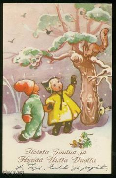 MARTTA WENDELIN Vintage Christmas Cards, Xmas Cards, Vintage Cards, Vintage Postcards, Girl Face Drawing, Christmas Past, Scandinavian Christmas, Illustrations And Posters, Winter Scenes