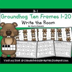 50% off for 24 hrs~(until 11:59 PM EST 03/04/17) Groundhog Write the Room (Ten Frames 1-20) This resource includes four pages of numbered cards in color with a total of 20 cards. Each numbered card has a groundhog with a ten frame(s) filled in with black dots to represent each number 1-20.