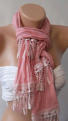 Pink and Elegance Shawl / Scarf by womann on Etsy, $19.00