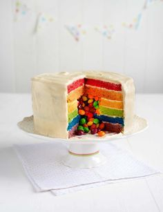 Skittles rainbow cake - Surprise!!! http://www.sainsburysmagazine.co.uk/recipes/baking/special-occasion-cakes/item/surprise-skittles-rainbow-cake