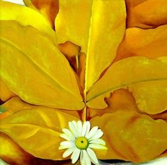 Georgia O'Keeffe, Yellow Hickory Leaves with Daisy (1928)