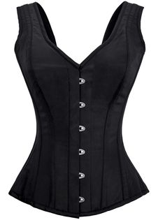 Do you desire the cinching power of a corset but with a tad more coverage? Don't like stapless tops? Then the Black Bodice corset is just what you want. Fully steel boned satin corset with front busk, back lace up, and bodice style straps. Wear alone or with a billowy cotton blouse underneath for a medieval flair!   Authentic Steel Boned Black Satin Overbust Corset    12 Flat Steel Bone, 2 Spiral Steel Bone  Front Length: 13.5 inch (34.3 cm)  Side Length: ...