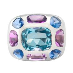 Chanel Aquamarine Gemset Ring | From a unique collection of vintage fashion rings at http://www.1stdibs.com/jewelry/rings/fashion-rings/