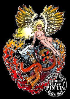 PinUp Knucklehead Angel - Harley Davidson Motorcycles - Cafe Racer, Bobber, Chopper