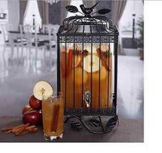Clear Beverage Dispenser Glass 1.32 gal Bird Cage Stand Black Design Bar