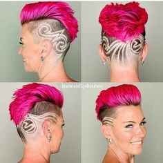 Pink And Black Hair, Pink Hair, Black Braided Hairstyles Updos, Girls With Shaved Heads, Buzzed Hair, Hair Tattoos, Shaved Sides, Braids For Black Hair, Hair Art