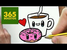 COMO DIBUJAR CAFE Y DONUT KAWAII PASO A PASO - Dibujos kawaii faciles - draw a COFFEE AND DONUT - YouTube