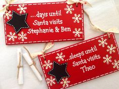 Personalised Christmas Countdown Plaque by AmoreArtGifts on Etsy, £8.50