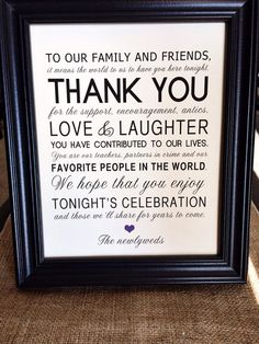Thank You Wedding Reception Sign for Family and Friends - 8 x 10 Printed Wedding Table Sign on Etsy, $11.47