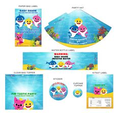 baby shark doo doo custom party printables name age kids birthday party ideas decorations invitation hat malaysia kl cheap murah 2nd Birthday Party Themes, Boy Birthday Parties, Baby Birthday, Birthday Ideas, Shark Party Decorations, Decoration Party, Party Props, Baby Hai, Baby Shark Doo Doo