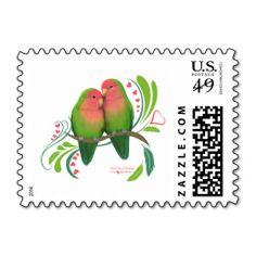 Peach Faced Love Birds Stamps #lovebirds
