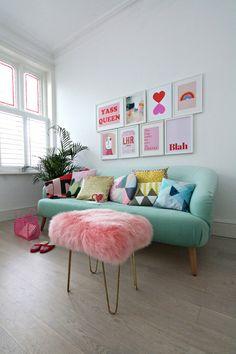 pastel home decor Pastel Decor, Colorful Decor, Living Room Decor, Bedroom Decor, Living Area, Colourful Living Room, Pastel Living Room, Colourful Bedroom, Colorful Apartment