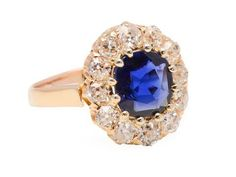 Victorian Sapphire Diamond Halo Ring from thethreegraces on Ruby Lane