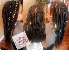 Medium waist length box braids