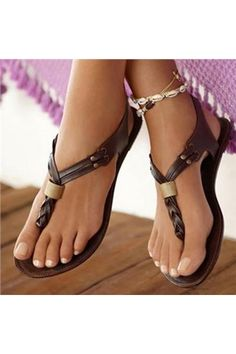 Fashionable Brown PU Flat Sandals - Shoespie.com