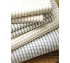 """Vintage Ticking Stripe Sheet Set #potterybarn  """"Vintage linen men's shirts have a texture that's crisp and comfortable, elegant and relaxed. We've replicated their appeal in this sheet set, woven from pure cotton for appealing softness and subtle luster."""""""