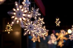 Hang outdoor snowflake lights for Christmas and then you can leave them up through winter. Snowflake Christmas Lights, Christmas Lights Wallpaper, Holiday Lights, Christmas Decorations, Snowflake Decorations, Snowflake Snowflake, Yard Decorations, Christmas Tumblr, Noel Christmas