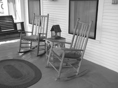 Life in Black & White. Rocking chairs on front porch.