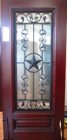TEXAS STAR IRON GRILL WOOD DOOR | Knotty Alder | Doors For Builders, Inc.
