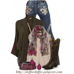 Oversized Cardigan, Floral Scarf & Miss Me Jeans, created by steffiestaffie on Polyvore