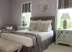 Andrew Howard Interior Design: Gray And Purple Bedroom With Gray Velvet  Headboard With Nailhead Trim