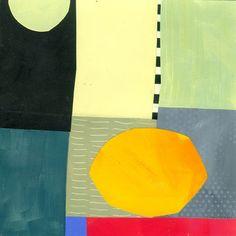 "Jane Davies, 8""x8"" acrylic and collage on panel"