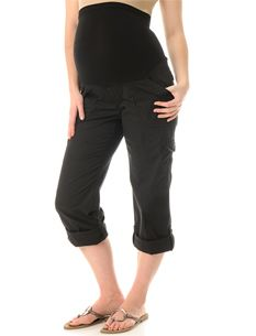 Secret Fit Belly(tm) Poplin Cargo Pockets Convertible Maternity Pants