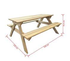 Dřevěný piknikový stůl 150 x 135 x 71,5 cm[4/4]