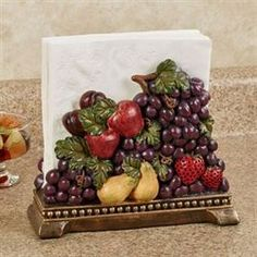 Grown in the Italian countryside, this Tuscan Fruit creates a delectable tablescape. Handpainted resin napkin holder features golden pears and red apples. Mediterranean Homes Exterior, Mediterranean Home Decor, Mediterranean Architecture, Tuscan Homes, Fruit Kitchen Decor, Kitchen Themes, Wine Themed Kitchen, Kitchen Ideas, Kitchen Drawing